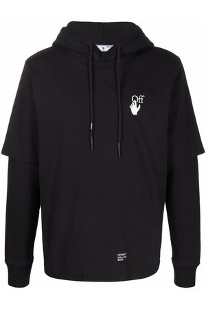 Off-White Arrows-print double-sleeve hoodie - 1001 WHIITE