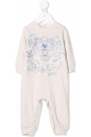 Kenzo Tiger-embroidered cotton pajama - Neutrals