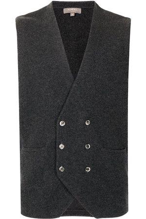 N.Peal Men Waistcoats - Double breasted cashmere waistcoat - Grey
