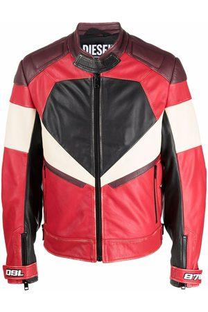 Diesel Men Leather Jackets - Panelled leather biker jacket
