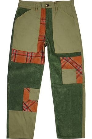 J.W.Anderson Men Straight - Green patchwork straight-leg trousers