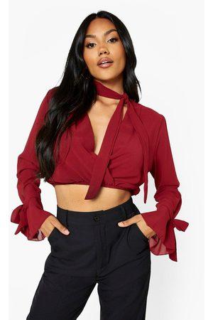 Boohoo Womens Chiffon Tie Neck Wrap Top - - 2