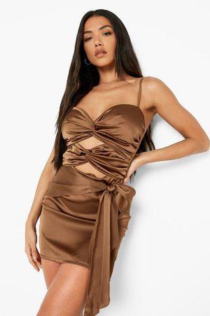 Boohoo Womens Satin Bandeau Cut Out Mini Dress - - 2