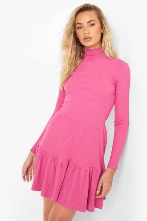 Boohoo Women Party Dresses - Womens Roll Neck Long Sleeve Mini Dress - - 4