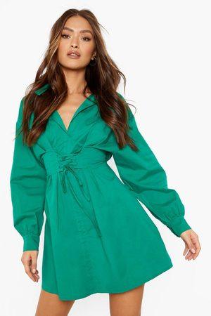 Boohoo Womens Corset Detail Volume Sleeve Shirt Dress - - 4