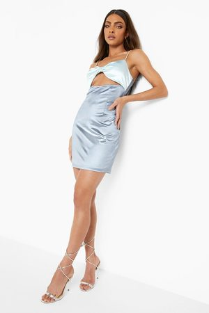 Boohoo Womens Diamante Twist Bust Cut Out Bodycon Mini Dres - - 2
