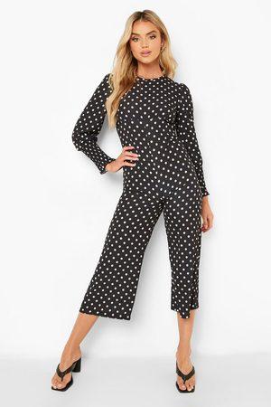 Boohoo Women Culottes - Womens Polka Dot Shirred Cuff Culotte Jumpsuit - - 4