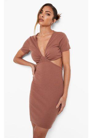 Boohoo Womens Crinkle Knot Detail Short Sleeve Mini Dress - - 4