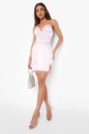 Boohoo Womens Diamante Strap Corset Lace Trim Mini Dress - - 2