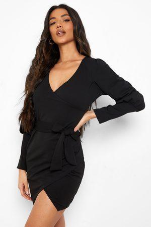 Boohoo Womens Puff Sleeve Wrap Mini Dress - - 4