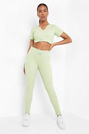 Boohoo Womens Ofcl Premium Ribbed Gym Leggings - - 8