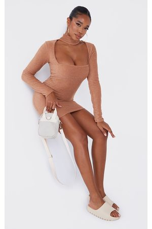 PrettyLittleThing Camel Towelling High Neck Detail Bodycon Dress