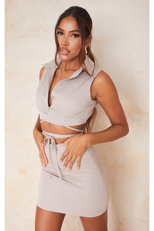PrettyLittleThing Taupe Pinstripe Button Front Collar Detail Waistcoat