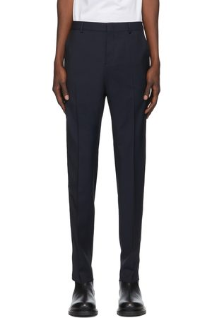 VALENTINO Navy Wool & Mohair Stripe Trousers