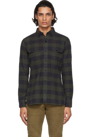 TOM FORD Green & Navy Military Check Leisure Shirt