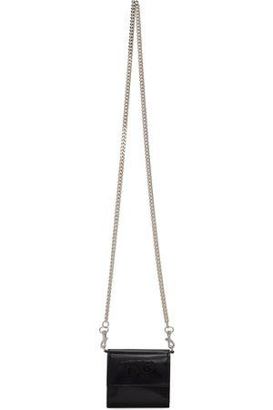 MM6 MAISON MARGIELA Black Patent Logo Chain Wallet Bag