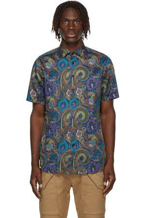Etro Men Short sleeves - Blue Paisley Print Short Sleeve Shirt