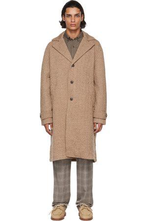 Etro Men Coats - Beige & Brown Wool Twill Pattern Coat