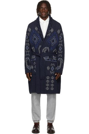 Etro Navy Wool Jersey Coat