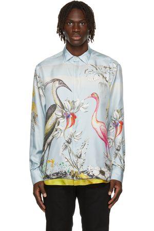 Etro Men Shirts - Blue Silk Heron Print Shirt
