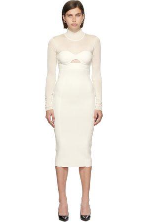 Hervé Léger White Long Sleeve Corset Dress