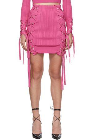 Hervé Léger Women Mini Skirts - Pink Variegated Rib Lace Miniskirt
