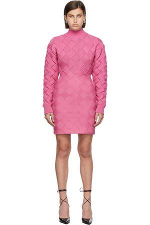 Hervé Léger Pink Chunky Weave Bandage Mini Dress