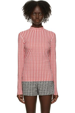 VALENTINO Red & White Optical Long Sleeve T-Shirt