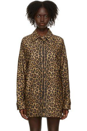 VALENTINO Tan Leopard Micro-Faille Shirt
