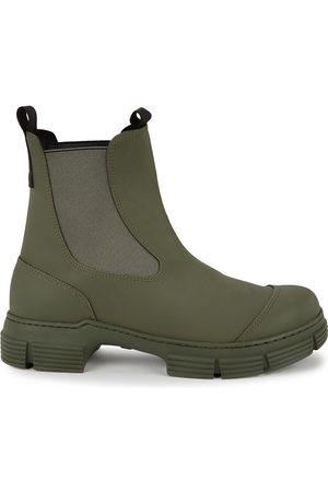 Ganni 40 army green rubberised Chelsea boots