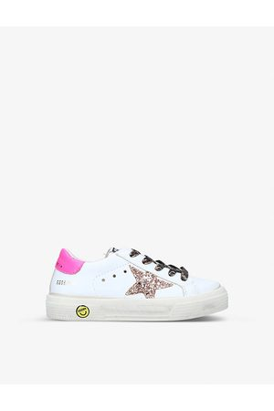 Golden Goose May School logo-print leather trainers 3-5 years