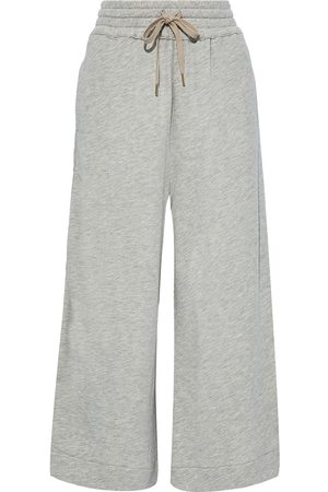 G. LABEL Woman Cropped French Cotton-blend Terry Wide-leg Pants Stone Size S