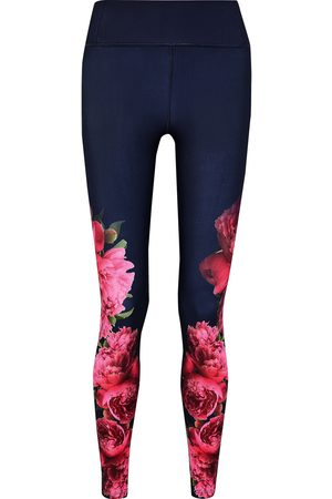 G. LABEL Woman Peonies Floral-print Stretch Leggings Navy Size L