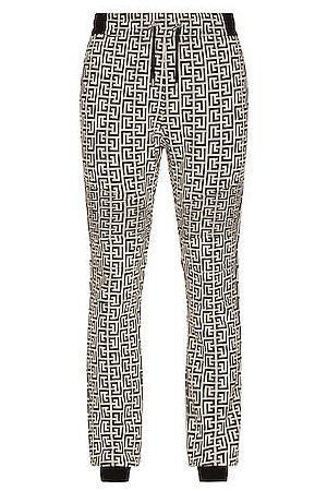 Balmain Ribbed Double Jersey Monogram Sweatpants in Grey
