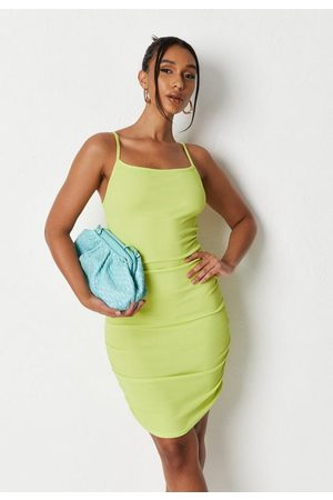 Missguided Lime Rib Ruched Strappy Mini Dress