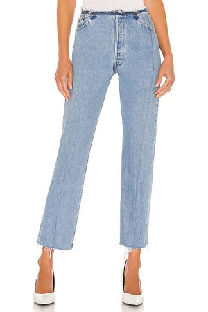EB Denim Bandless Jeans in Blue.