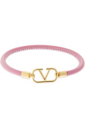 VALENTINO GARAVANI V Logo Slim Leather Bracelet