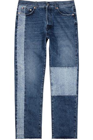 VALENTINO Blue patchwork straight-leg jeans