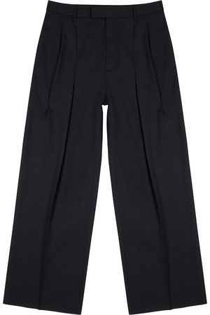 Valentino Navy wide-leg wool trousers