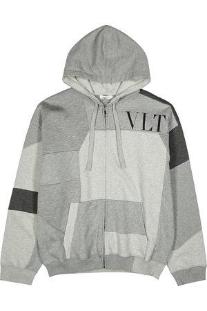 VALENTINO VLTN panelled hooded jersey sweatshirt