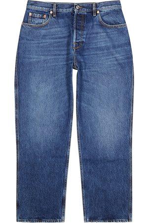 VALENTINO Men Straight - Blue cropped straight-leg jeans