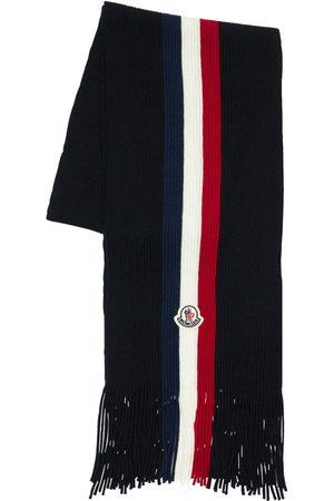 MONCLER Stripe Wool Knit Scarf W/ Logo