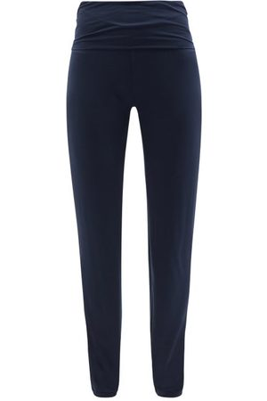 Hanro High-rise Jersey Relaxed-fit Trousers - Womens - Dark Navy
