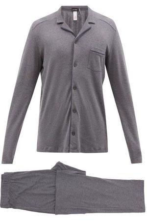 Hanro Piped Cotton-jersey Pyjamas - Mens - Grey