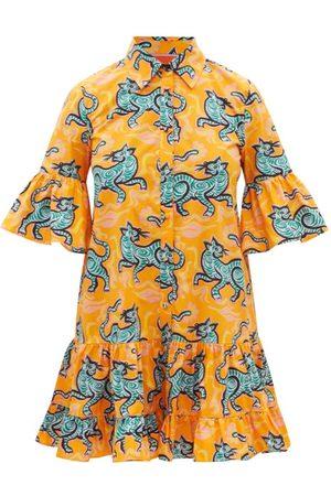 La DoubleJ Choux Crazy Tiger-print Cotton Mini Shirt Dress - Womens - Print