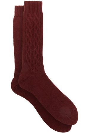 JOHN LOBB Cabled Cashmere-blend Socks - Mens - Burgundy