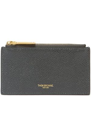 Thom Browne Logo-stamped Zipped Pebbled-leather Cardholder - Mens - Grey