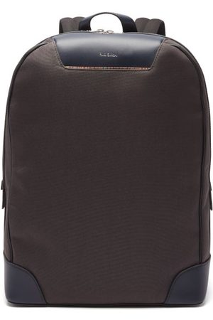 Paul Smith Artist Stripe Leather And Canvas Backpack - Mens - Grey
