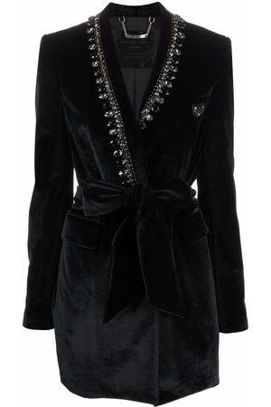 Philipp Plein Women Blazers - Logo-plaque velvet blazer dress