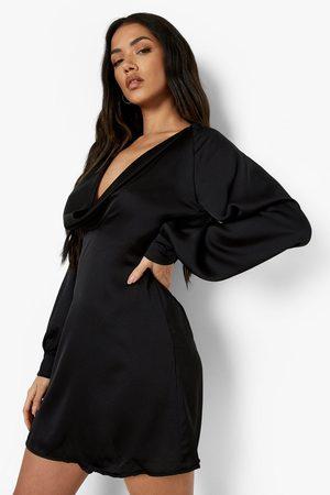Boohoo Womens Satin Cowl Neck Cut Out Mini Dress - - 2